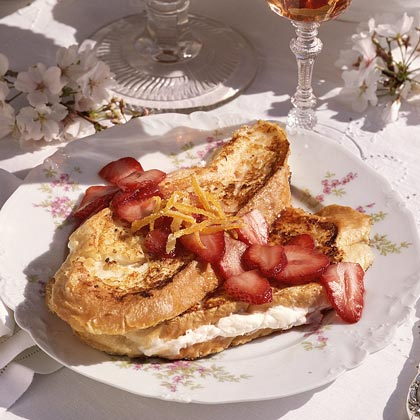 Cheese-Stuffed French Toast with Strawberry Sauce
