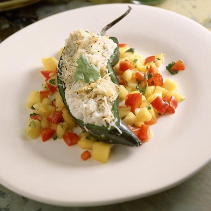 Crab-Stuffed Poblano Chiles With Mango Salsa