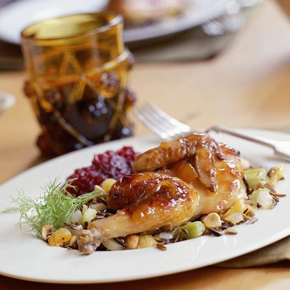 Glazed Cornish Hens with Wild Rice-and-Apricot Stuffing