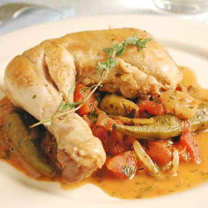 Stewed Chicken with Okra and Tomatoes