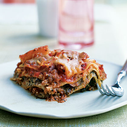 Pesto Lasagna with Spinach and Mushrooms