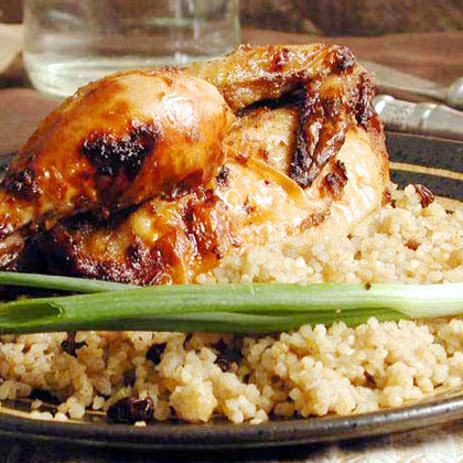 Hamam Mahshi bi Burghul (Cornish Hens with Bulgur, Raisins, and Pine Nuts)