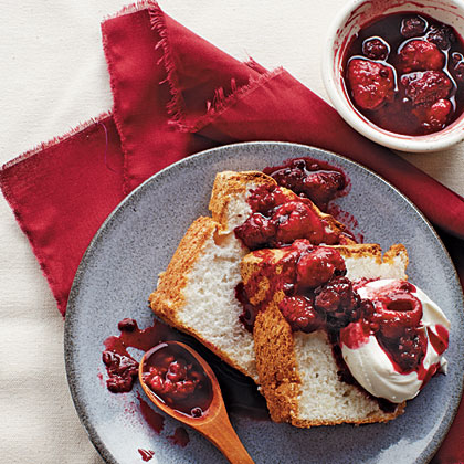 Vanilla Angel Food Cake with Berry Compote