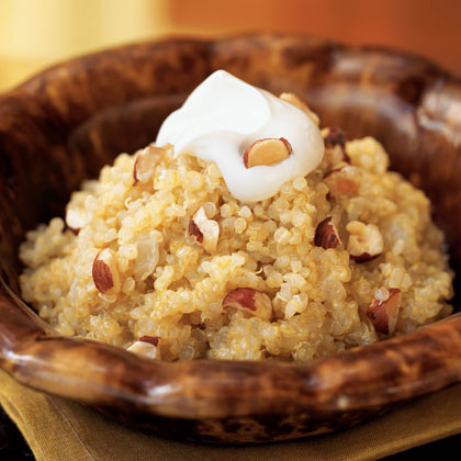 Quinoa and Onion Risotto with Crème Fraîche and Hazelnuts