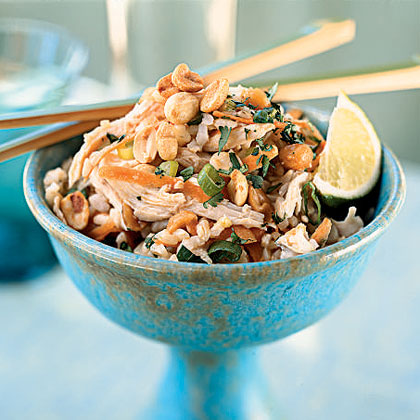 Sesame Brown Rice Salad with Shredded Chicken and Peanuts