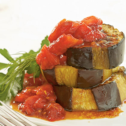 Olive Oil-Braised Eggplant with Fresh Tomato and Pomegranate Sauce
