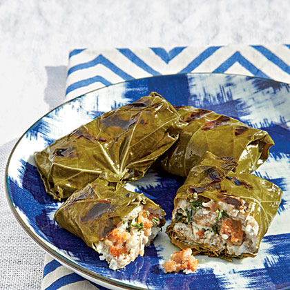 Grilled Grape Leaves Stuffed with Sausage and Goat Cheese