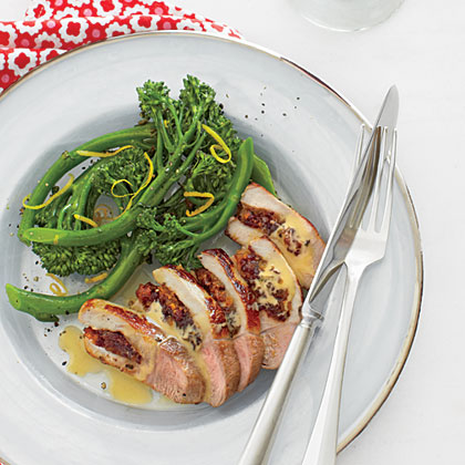 Cranberry-Apricot Stuffed Pork Chop with Broccolini