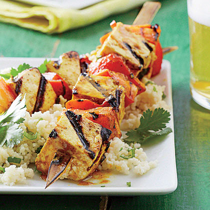 Curry Tofu-and-Bell Pepper Skewers with Sticky Coconut Couscous