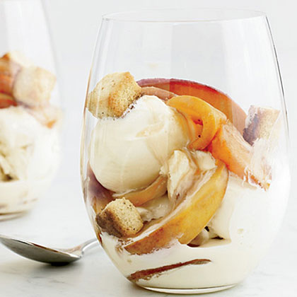 Bourbon-Nectarine Ice Cream Sundaes with Pound-Cake Croutons