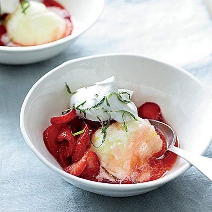 Honey-Lime Strawberries with Whipped Cream