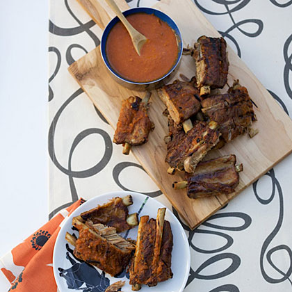 Beer-Braised Baby Back Ribs with Orange-Tamarind Sauce