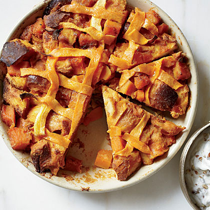 Pumpkin Pie Bread Pudding with Bourbon-Pecan Hard Sauce
