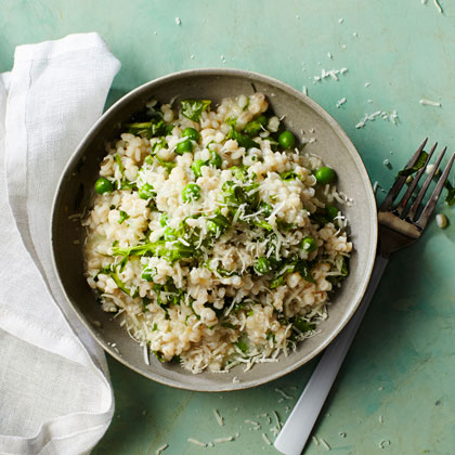 Herb Barley Risotto with Peas and Arugula