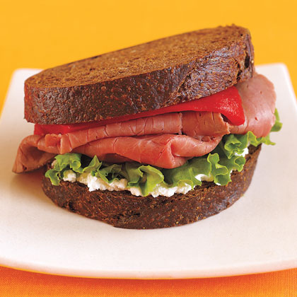 Roast Beef Pumpernickel Sandwich with Roasted Red Pepper, Arugula and Goat Cheese