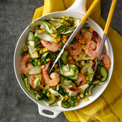 Zucchini  Pasta  with Shrimp