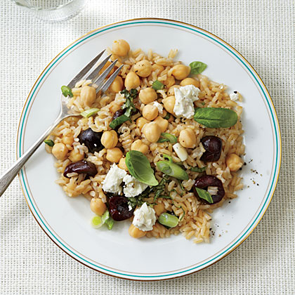 Warm Brown Rice and Chickpea Salad with Cherries and Goat Cheese