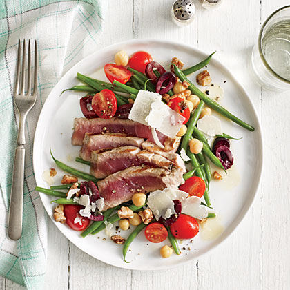 Grilled Tuna Over Green Bean, Tomato, and Chickpea Salad