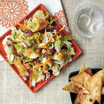 Crunchy Chinese Chicken Salad with Wonton Chips