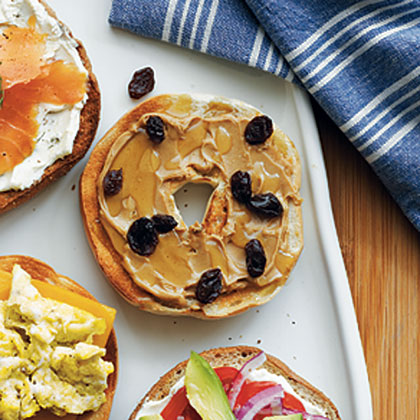 Peanut Butter, Honey, and Raisin Bagel