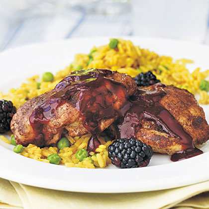 Five-Spice Grilled Chicken Thighs with Blackberry Glaze