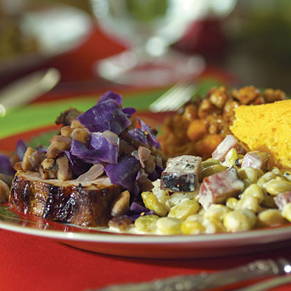 Brined Pork Roast with Chestnut and Red Cabbage Sauté