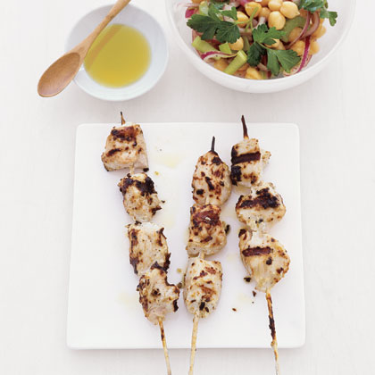 Chicken Kebabs with Chickpea Salad