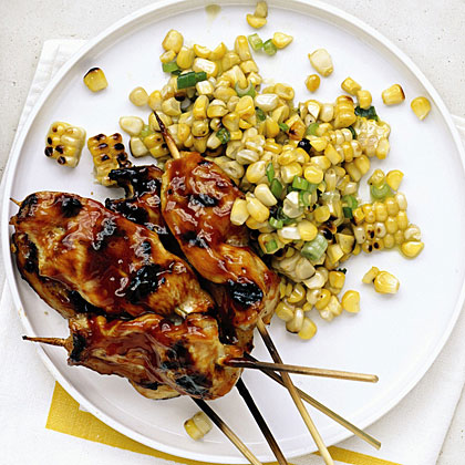 Honey Chicken Skewers with Grilled-Corn Salad