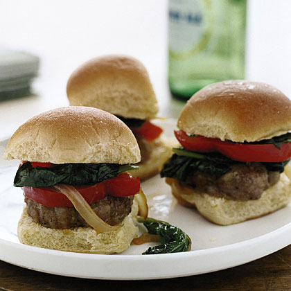 Sausage Sliders with Spinach and Peppers