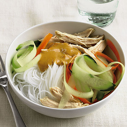 Peanut Butter and Chicken Noodles With Carrot and Cucumber Ribbons