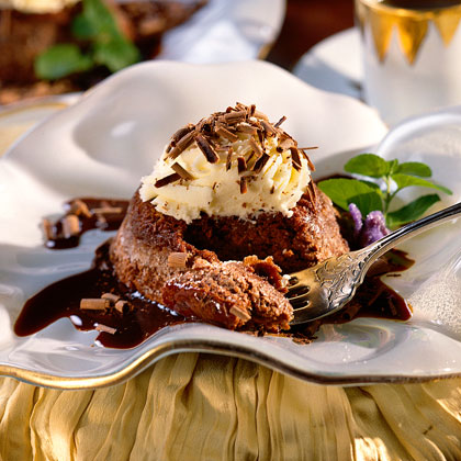 Chocolate Soufflé with White Chocolate Mousse