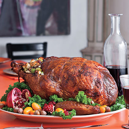 Roasted Turkey Stuffed with Hazelnut Dressing