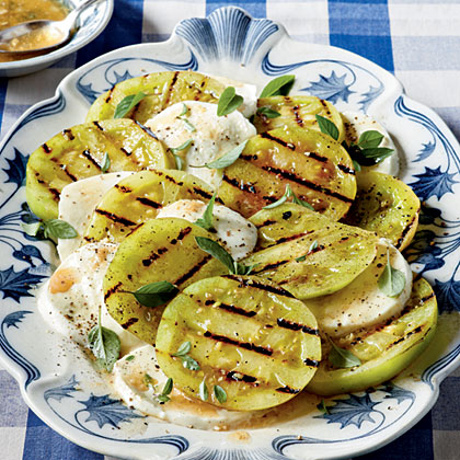 Grilled Green Tomatoes Caprese