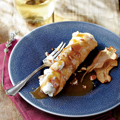 Caramelized Pear Cannoli with Praline Sauce