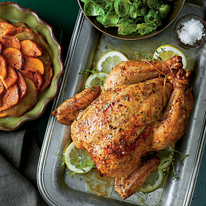 sl-Roast Chicken with Sweet Potatoes and Apples