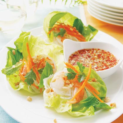 Vietnamese Shrimp Lettuce Wraps with Spicy Lime Dipping Sauce