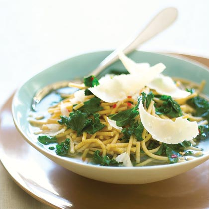 Whole-grain Pasta Soup with Greens and Parmesan