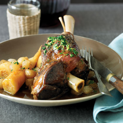 Lamb Shanks and Parsnips with Sherry-Onion Sauce
