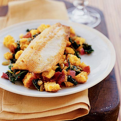 Pan-Fried Trout with Cornbread Salad