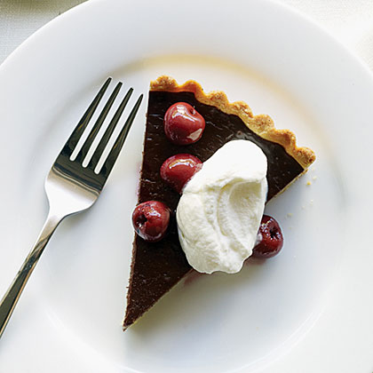 Dark Chocolate Tart, Cherries, and Almond Whipped Cream