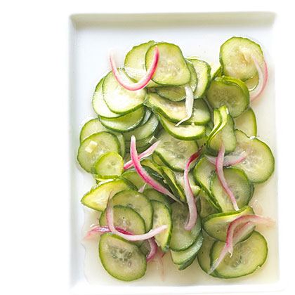 Sweet and Sour Cucumber and Red Onion Pickles