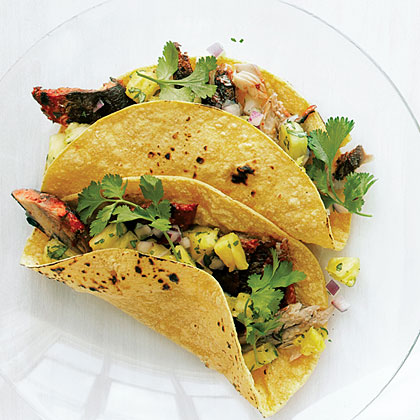 Grilled Sardine Tacos with Achiote, Lime, and Pineapple Salsa