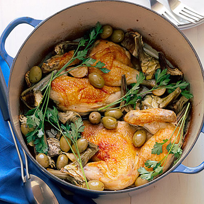 Chicken Halves with Artichokes and Garlic