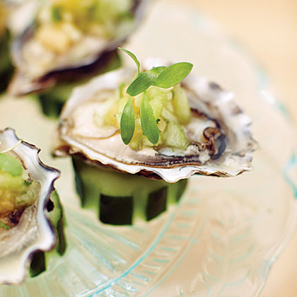 Morro Bay Pacific Gold Oysters with Melons and Cucumber Water