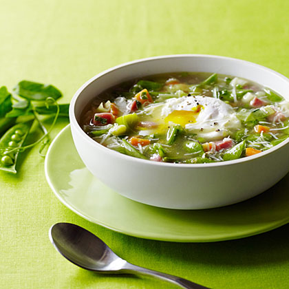 su-Snap Pea Minestrone with Poached Eggs