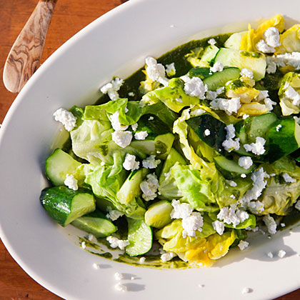 Lettuce, Basil, and Cucumber Salad with Goat Cheese
