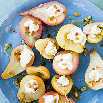 Sauvignon Blanc-Poached Pears with Spicy Pepitas