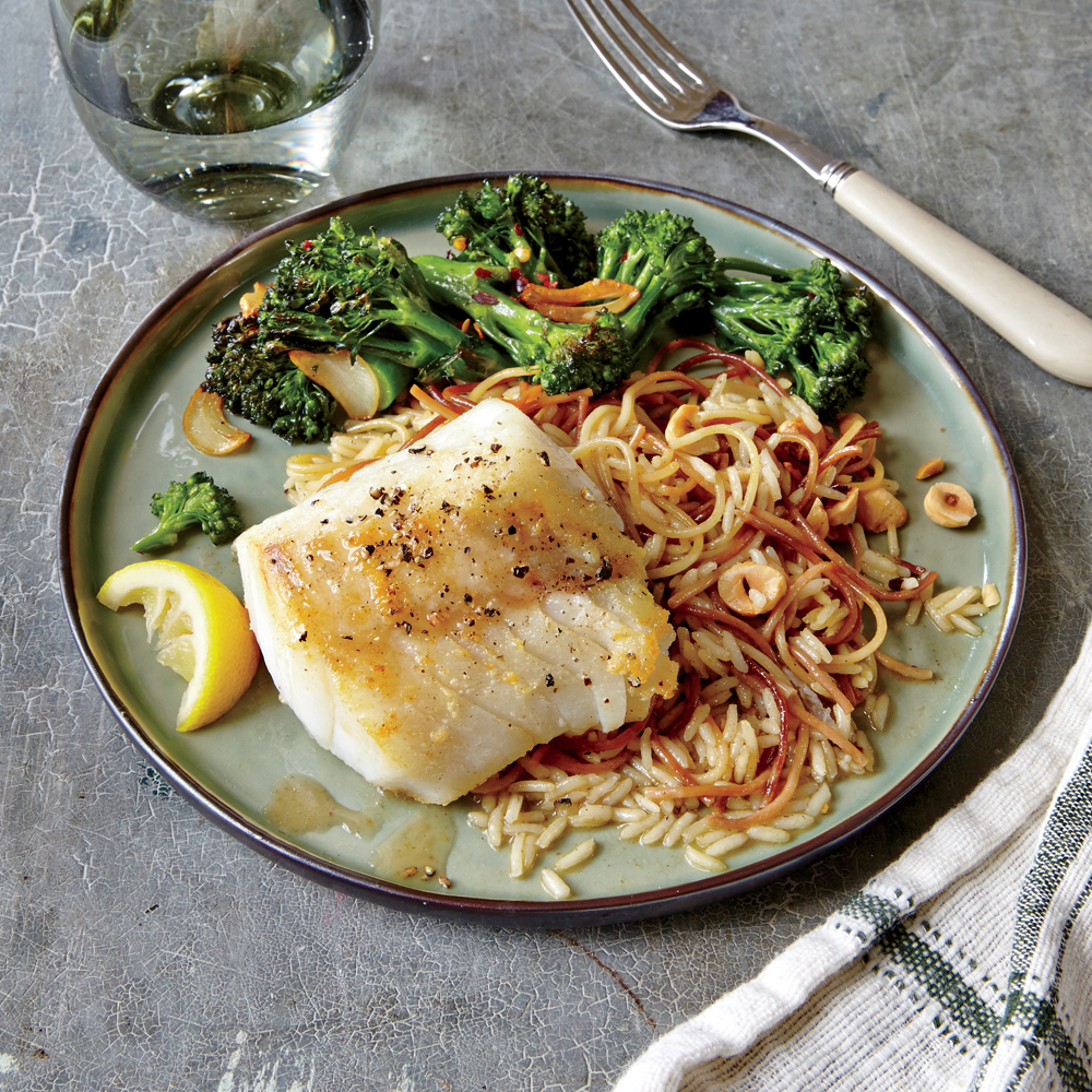 Lemon-Browned Butter Cod with Hazelnut Pilaf