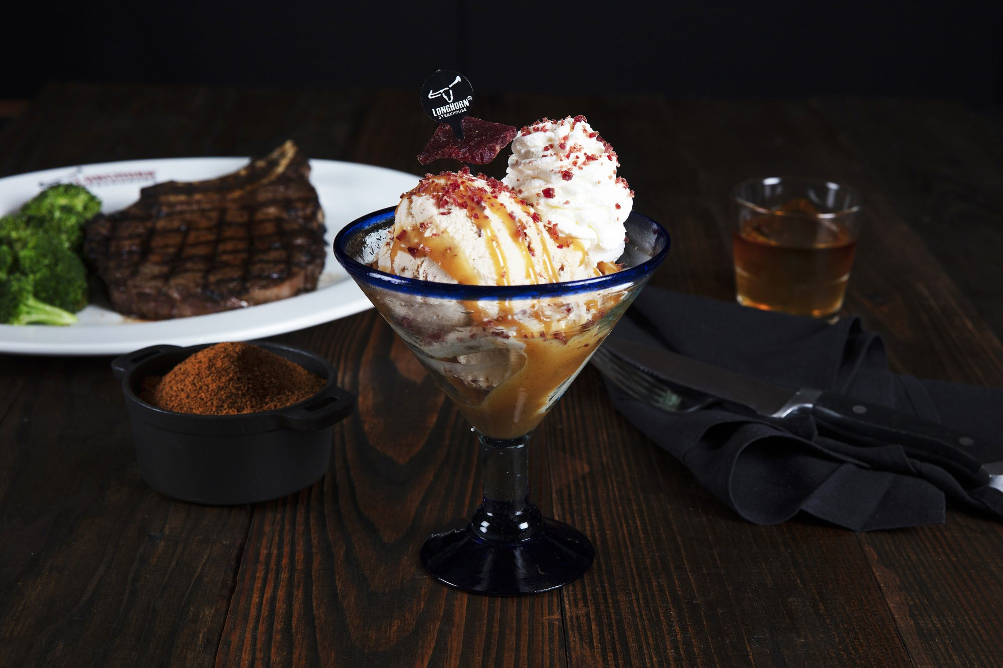 Longhorn steak and bourbon ice cream