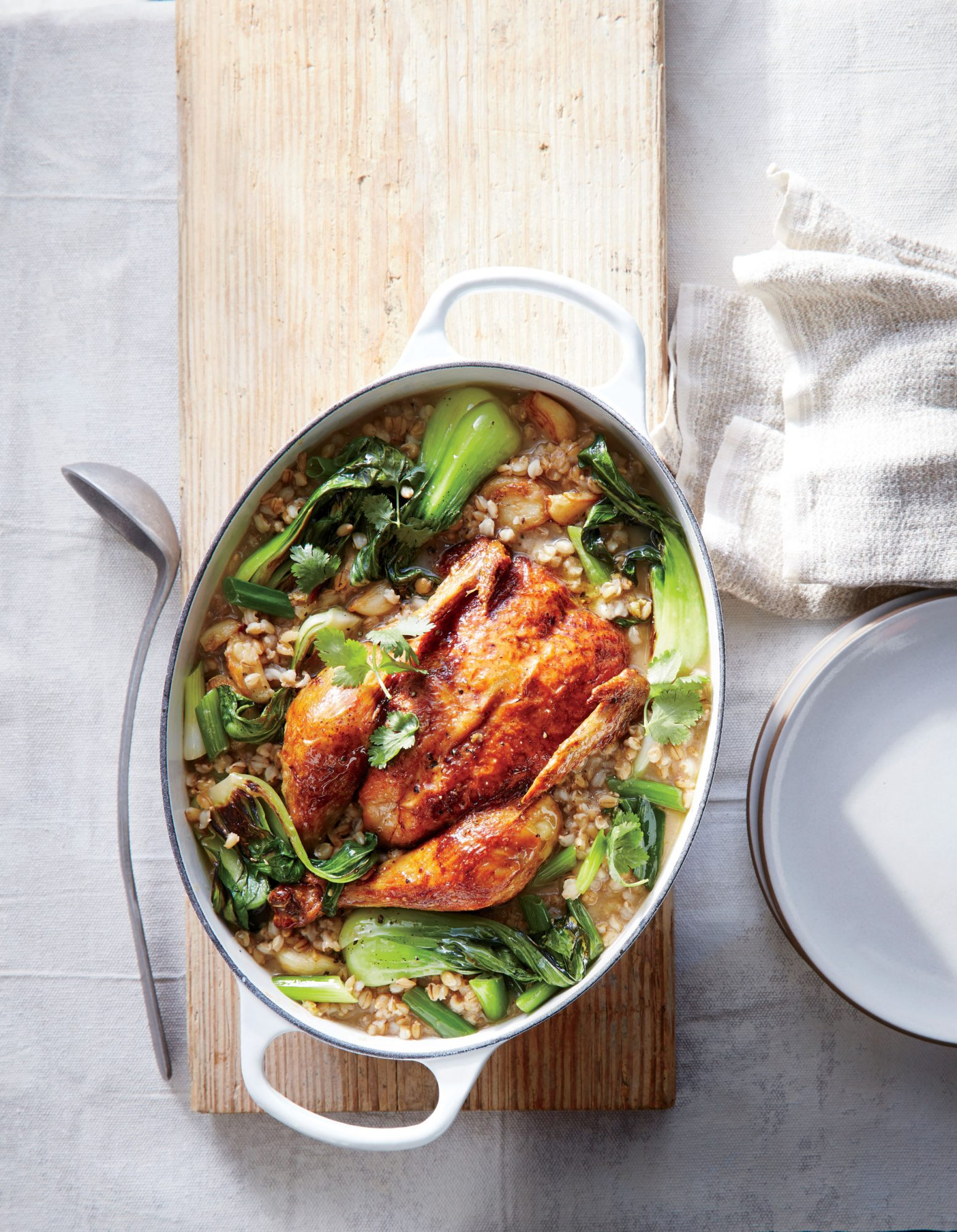 Miso-Ginger Braised Chicken with Bok Choy and Barley image